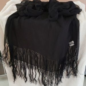 Sheer silk black shawl
